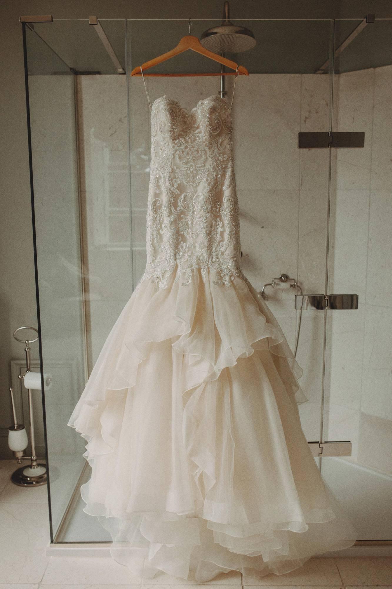 wedding dress hanging at elmore court